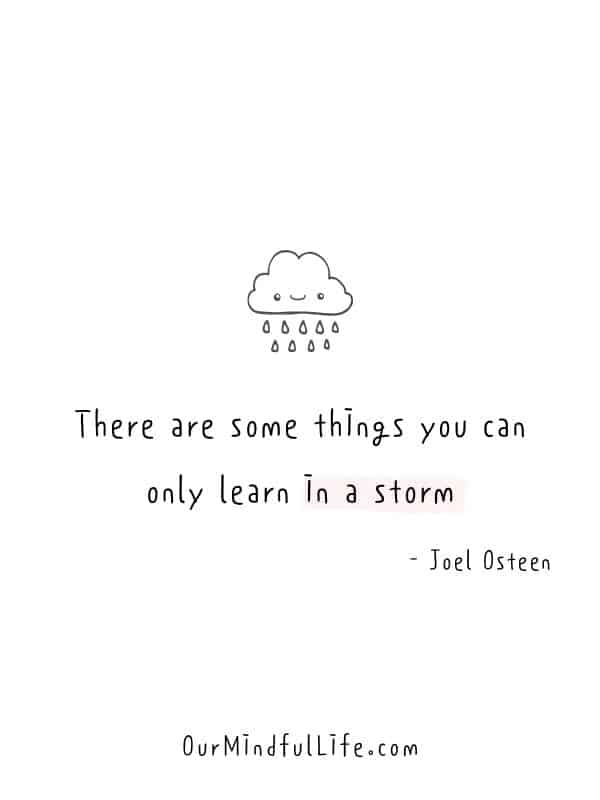 There are some things you can only learn in a storm.  - Joel Osteen-  Cheerful Encouragement Quotes To Keep Your Chin Up - ourmindfullife.com