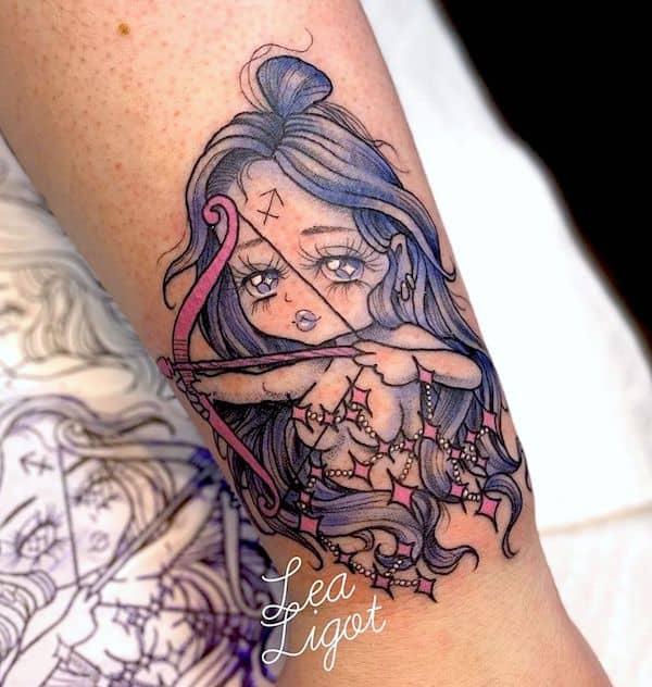 A cute Archer tattoo for girls by @lealigot - Creative Sagittarius zodiac tattoo ideas