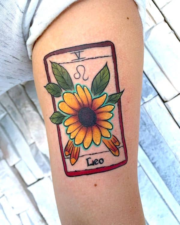 A creative Leo tarot tattoo by @severinjowers - Unique Leo tattoos for women