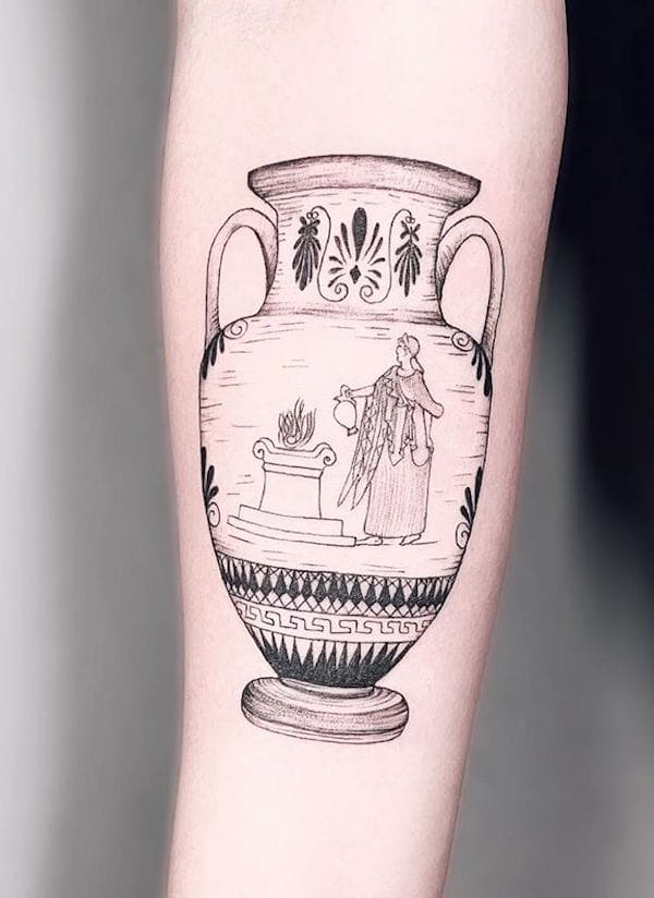A mythical water vessel tattoo by @antstattoo_danny