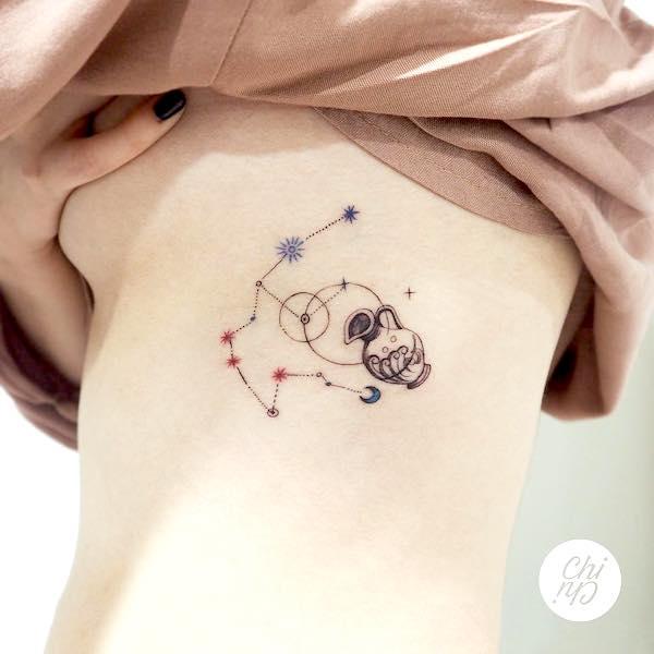 A simple vessel rib tattoo for Aquarius women by @odd.memo