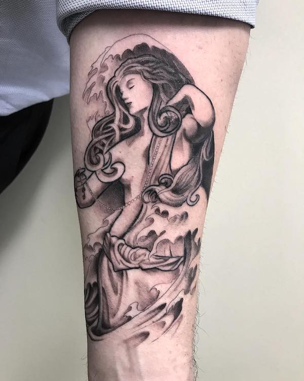 Goddess of the sea - an intricate forearm tattoo by @ronangibney