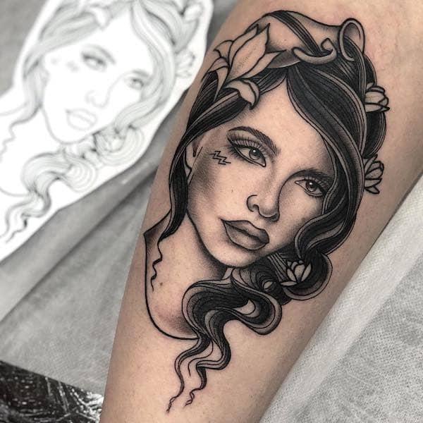 An intricate Water Bearer portrait tattoo by @cheri_may_tattoos