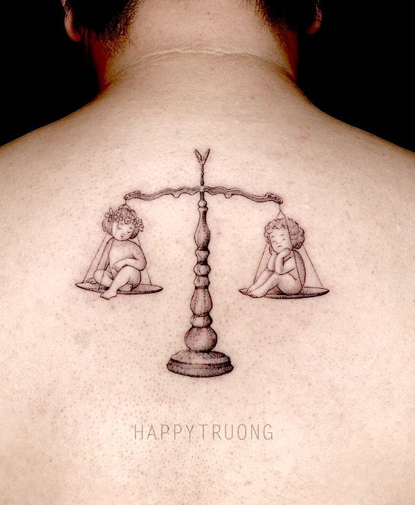 Libra and Gemini - a blackwork nape tattoo by @happytruongtattoo - Bold Libra tattoo ideas for men