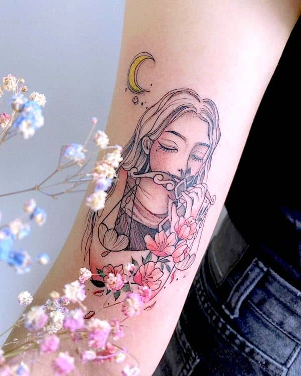 Scale and flower - a beautiful arm tattoo for Libra girls- Unique zodiac tattoos for Libra women