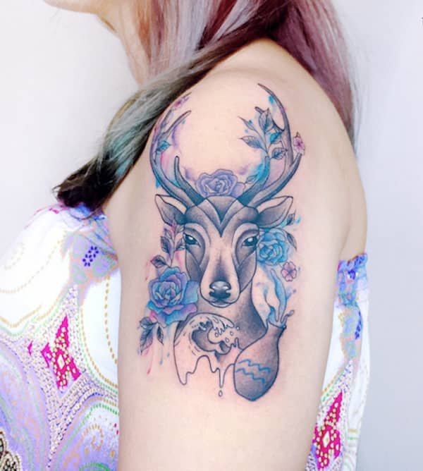 A Water-bearer deer tattoo on the sleeve by @bel_tattoo