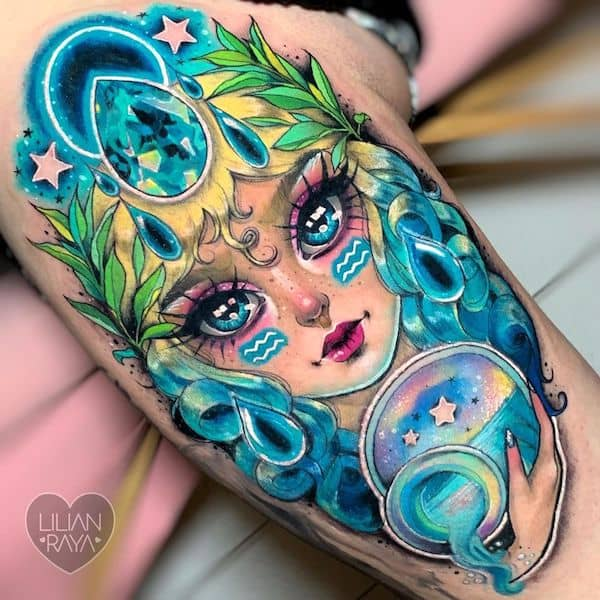 A stunning Aquarius goddess tattoo by @lilianraya
