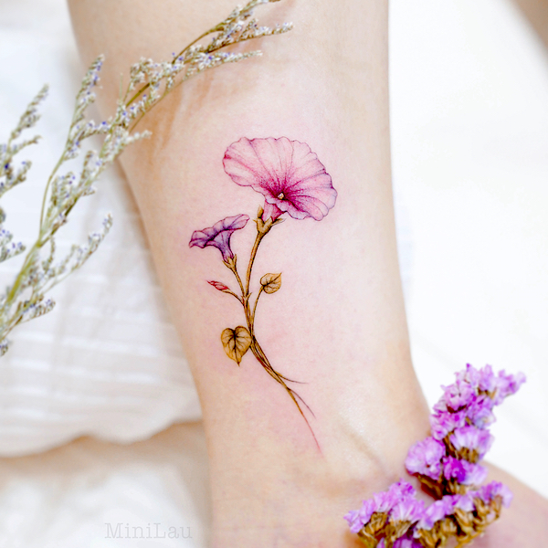 Virgo birth flower - Morning glory tattoo by @mini_tattooer - Unique tattoo ideas for Virgo women
