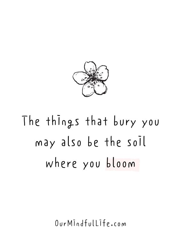 The things that bury you may also be the soil where you bloom.
